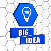 big idea and light bulb symbol in blue hexagon and blocks - stock illustration