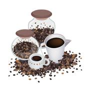 Two Hot Coffee with Coffee Beans in Bottle Stock Illustration