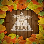 Back to school wood board with leaves Stock Illustration