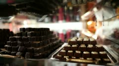 Shot of a chocolate pralines in a store - stock footage