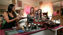 Shot of a four girlfriends having a good time while making chocolate Stock Footage