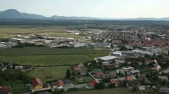 valley with town aerial shot - stock footage