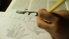 Child Drawing Sketches on Paper Stock Video Stock Footage