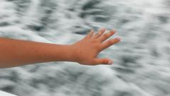Boy Waving Hand Out Over Ocean While Traveling on Boat Stock Video Stock Footage
