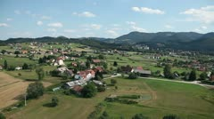 Valley with small towns with houses  aerial shot Stock Footage