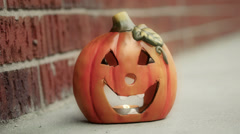 Halloween Pumpkin On Porch Evening Color Grading Stock Footage