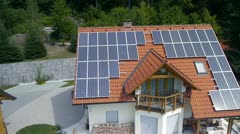 Solar power station on roof aerial shot Stock Footage