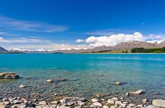 glacial lake in a mountain valley - stock photo