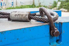 bolt anchor shackle and wire rope sling - stock photo