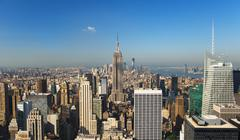 USA, New York City, Manhattan skyline with Empire State Building in Centre Stock Photos