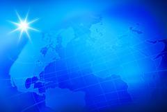 Blue world map, studio shot - stock illustration