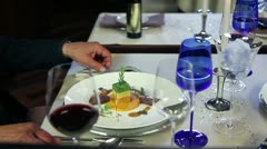Close up of eating in a fancy restaurant - stock footage