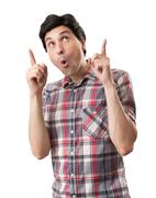 Amazed funny man pointing up Stock Photos