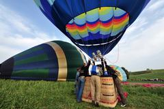 hot air balloon show - stock photo