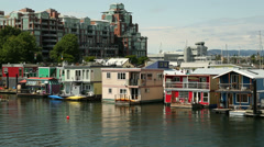 Houseboat Community Victoria Stock Footage