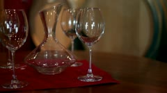 Empty glasses and jug Stock Footage