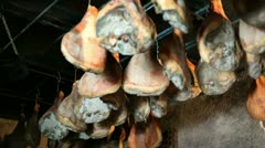 Prosciutto hanging Stock Footage