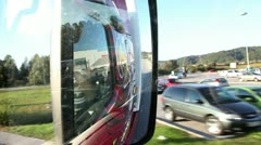 Close up shot of the side mirror on the truck - stock footage