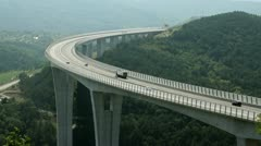 Panoramic shot of the viaduct Crni kal on the highway Stock Footage