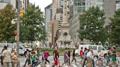 People Walking Crowded Columbus Circle Midtown Manhattan New York City NYC USA Stock Footage