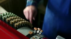 Close up shot ot the old retro cash-register and taking some money Stock Footage