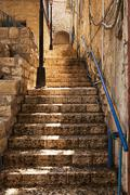 Stone staircase in zefat Stock Photos