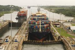 ships entering panama canal - stock photo