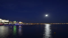 Time Lapse of La Croisette, Cannes, South of France, at night Stock Footage