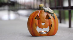 Pumpkin Lantern Outside Daytime - Home Decoration Stock Footage