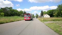 Fire Truck Fire Scene Detroit Arson Arsonist Firefighters Engine First Responder Stock Footage