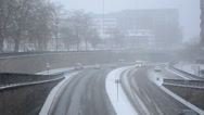 Stock Video Footage of snowing over the dual carriageway