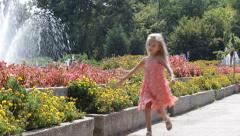 ULTRA HD 4K Little Girl Running in Park, Child Playing on a Summer Day, Children Stock Footage