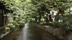 Beautiful Canal in Ginza District of Kyoto Japan Stock Video Stock Footage