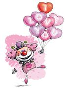Stock Illustration of clown with heart balloons saying i love you - girl colors