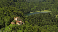 Castle Hohenschwangau and nearby lake Stock Footage