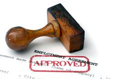 employment agreement - approved - stock photo