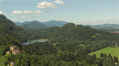 Paoramic view of Bavarian mountains and castle Hohenschwangau Stock Footage