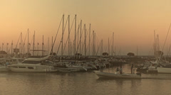 Stock Video Footage of Sailing in Morning Haze harbor in Arcachon France - 1080p
