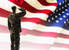 Army soldier saluting in front of American flag - stock illustration