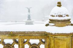 Central Park, Bethesda Fountain covered with snow in winter Stock Photos