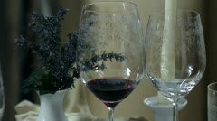 Beautiful and unique decorative place setting with special glasses Stock Footage