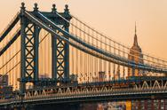 Stock Photo of Manhattan Bridge with Empire State Building