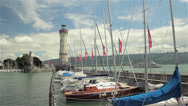Stock Video Footage of Entrance to marina of Lindau