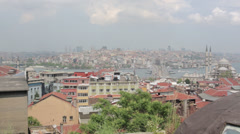 Istanbul - Prayer calls and city view from rooftop Stock Footage