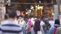 Spice Bazaar - Exterior:Rack focus to tight of crowd Stock Footage
