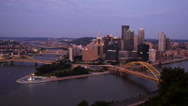 Stock Video Footage of Pittsburgh Skyline Night