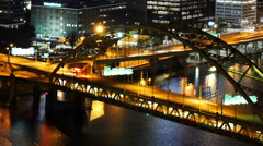 Fort Pitt Bridge Night Traffic Timelapse Stock Footage