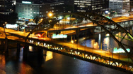 Stock Video Footage of Fort Pitt Bridge Night Traffic Timelapse