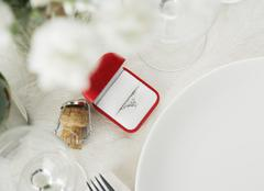 Still life of table setting and engagement ring Stock Photos
