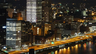 Stock Video Footage of Pittsburgh Night Traffic Timelapse